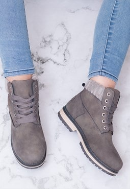 TIGA Flat Combat Worker Ankle Boots - Grey Leather Style