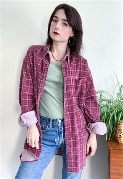 90s Grunge Checked Flannel Cord Shirt