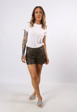 Mid High Waisted Leather Shorts Bohemian UK 8 - 10 (A7CX)