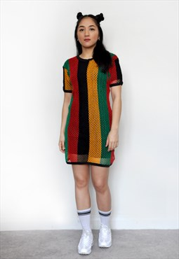 Rasta Festival Multicoloured Mesh Fishnet String T-shirt