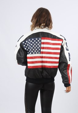 Leather Bomber Jacket USA FLAG Michael Hoban UK 14 (HH3G)