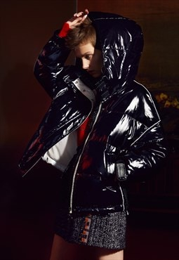 Down Puffer Jacket, Shiny Black