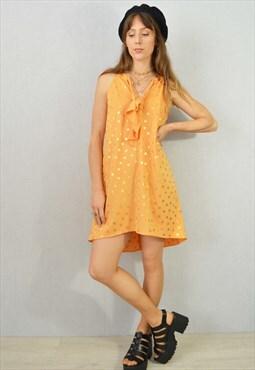 Vintage 70s 80s Revival Party Dress Polkadot Orange