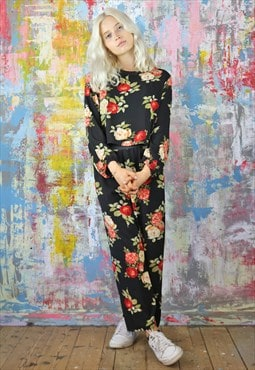 Pants & Box Top Co-Ordinates in black vintage flower