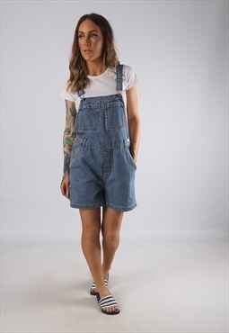 Vintage Denim Dungaree Shorts UK 12 Medium  (JR2E)