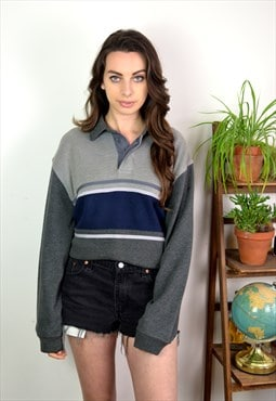 90s Vintage Grey Collared BHS Sweatshirt Jumper