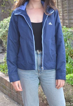 1990s Vintage Adidas Fleece Lined Navy Blue Jacket