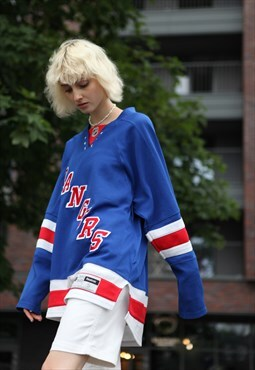 Vintage NHL Reebok Rangers Long sleeve Jumper Blue