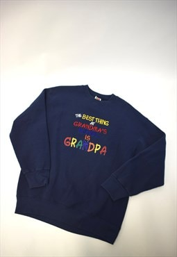 Vintage 90s Fruit of the Loom Navy Grandpa Sweatshirt