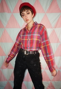 Vintage 80s Pink Plaid Intricate Pattern Checked Shirt