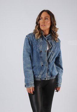 Denim Jacket 90's Bomber Lined Vintage UK 10 (GJDG)