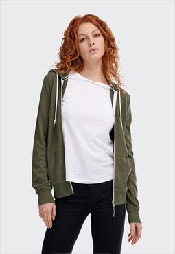 Alcott military green basic zip hoodie