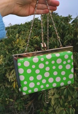 70's Vintage Green Polka Dot Box Clutch Bag
