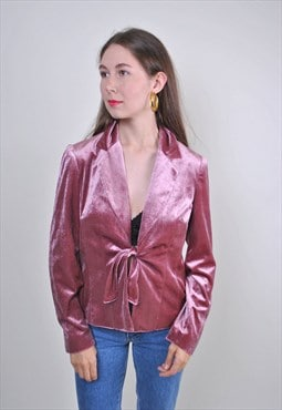 Vintage pink velvet blouse, 70s party disco bow shirt