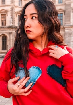 Hoodie In Red With Double Denim Love Hearts