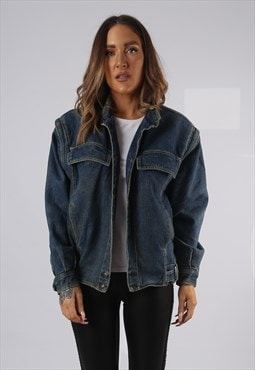 Vintage Lined Denim Jacket Oversized Fitted UK 12 (HP1U)