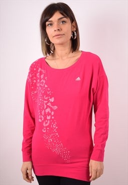 Adidas Womens Vintage Top Long Sleeve Small Pink 90s