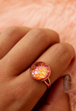 Amber Mermaid Rose Gold Ring