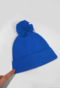 Ski Bobble Knitted Ribbed Beanie Hat - Royal Bright Blue