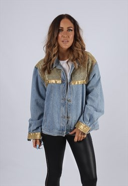 Vintage Denim Jacket Oversized Fitted UK 18 XXL  (J2A)