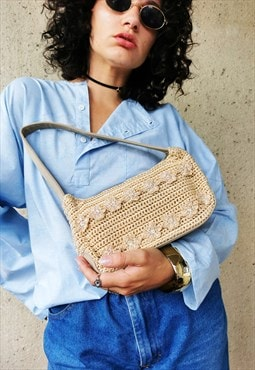 Vintage Y2K beige crochet beaded small shoulder bag