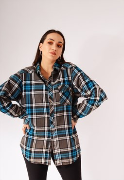 Vintage Billabong Oversized Check Flannel Shirt Blue/Grey