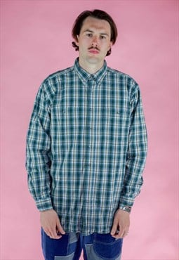 Vintage Wrangler Cotton Checked Shirt in Green Tartan