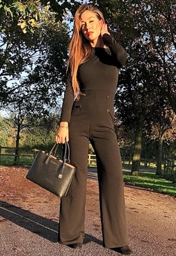 Olivia Black High Neck Long Sleeve Jumpsuit