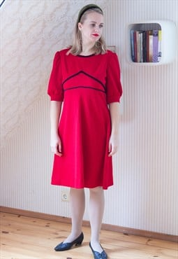 Bright red patterned  A line dress
