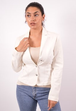 Vintage Versace Denim Blazer Jacket White