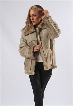 Vintage Sheepskin Suede Shearling Coat Short UK 16 XL (E82B)