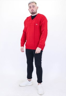 Vintage Lacoste Sweater Jumper in Red XL