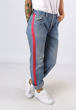 Levis 501's Denim Jeans REWORKED Side Stripe UK 10  (H3AP)