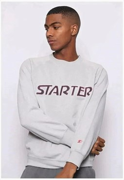 Vintage Starter Big Logo Spell Out Sweatshirt Grey