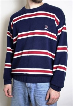 Vintage Tommy Hilfiger Crest Jumper Rare Striped Mens