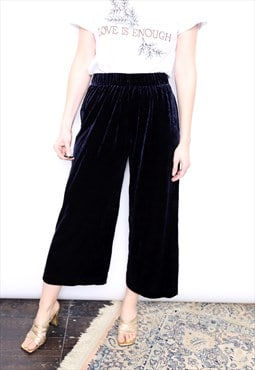 Vintage 90s Blue Velvet Velour High Waisted Trousers