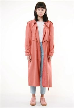 80s Vintage Trench Long Pink Oversized Leightweight  Coat 39