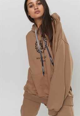 Printed Oversized Hoody With WORLD GLOBAL TREND in Brown
