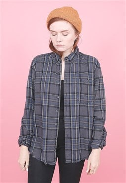Vintage Blue Check Flannel Shirt /R10144