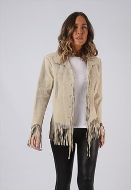 Suede Leather Fringe Tassel Jacket Vintage UK 14 (GWCS)