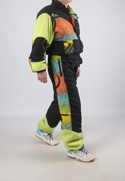 "Vintage Full Ski Suit Snow NEON M / L  42"" (A9DL)"