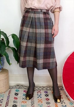 Vintage 80s tartan wool skirt with pockets