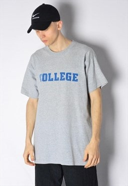 Vintage 90s Grey Graphic College T-Shirt