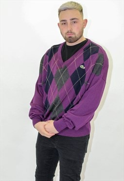 Vintage Lacoste Sweater Jumper in Purple Checkered Large