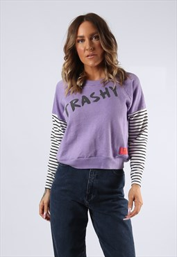Cropped Sweatshirt Top Striped  BICH Trashy Print  (K9DN)