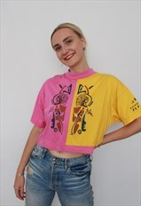 Vintage 90s Cropped Funky T-Shirt Tribal Dream Catcher