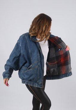 Vintage Denim Bomber Jacket Oversized UK 16 - 18 (KHDI)