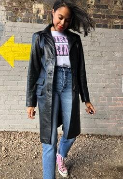 Vintage 90s leather longline coat