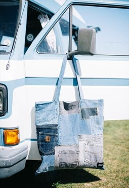 Tote Bag Oversized In Patchwork Denim