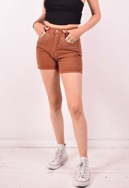 Womens Vintage Denim Shorts W26 Brown 90s